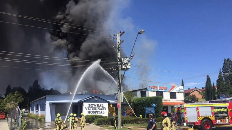 Vet clinic evacuated as fire engulfs tyre store in Bowral