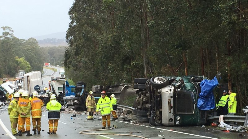 Trucks, car towing caravan in serious crash on Pacific Highway near