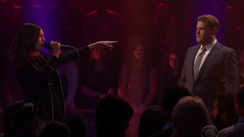 Anne Hathaway trades insults with host James Corden in epic
