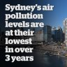 Sydney's air-pollution levels are at their lowest in 3 years