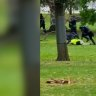 Victorian riot police can be seen and heard firing non-lethal rounds into protesters in this supplied video.