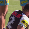 Penrith winger Josh Mansour takes a knee to the head in a game against the Gold Coast Titans in 2018.