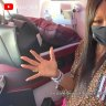 Naomi Campbell's airplane routine