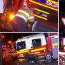 A fire truck has fallen into a sinkhole in Brisbane.