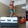 Australian Open players who are in hotel quarantine in Melbourne are finding creative ways to train and stay busy.