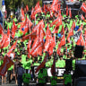 Why do unions march on Labour Day?
