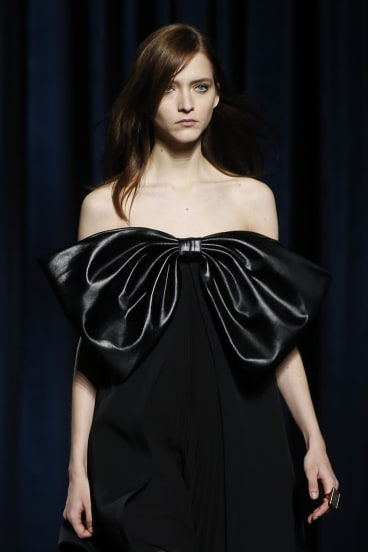 A model wearing a design by Givenchy at Paris Fashion Week.