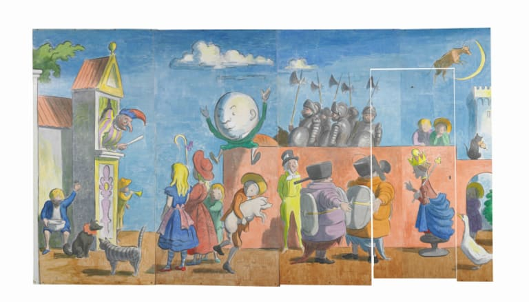 Mural for the first-class playroom on the ocean liner SS Canberra by Edward Ardizzone and his son Philip.