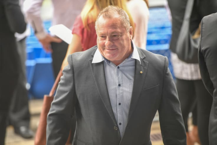 Bulldogs legend Terry Lamb arrives for the funeral.