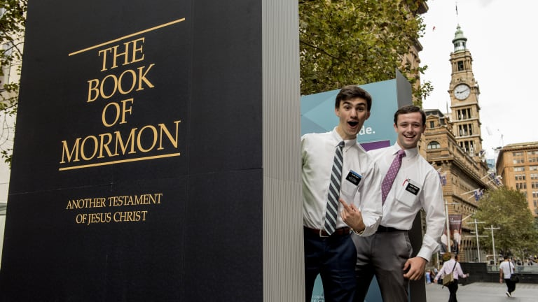 They believe: Elder Bush and Elder Tobler are among the missionaries who will be on hand to answer questions in Martin Place alongside the giant Book of Mormon.