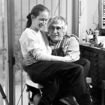 Marabeth Cohen-Tyler, left and Kenneth Tyler sitting in the Tyler Graphics Ltd barber chair, February 1993 (detail). Gift of Kenneth Tyler 2002.