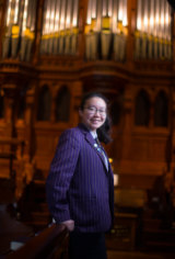 Organ-ic learning: Anna Duan with the pipe organ at Scots Church.