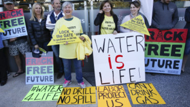 Environmental activists protest against fracking outside the WA Labor State Conference in Perth in 2017.
