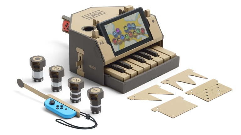 The piano has various switches, dials and inserts to change the tune of the keys.