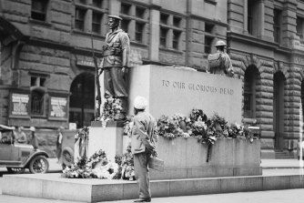 Man looking at recently completed Cenotaph, Martin Place, ca. 1929