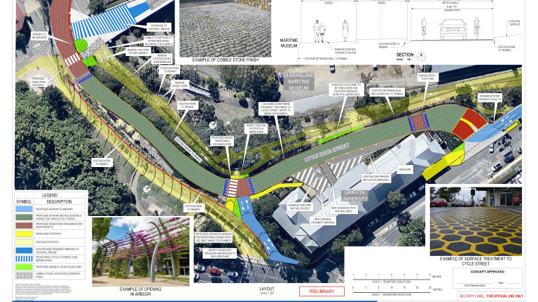 Design images for the Kangaroo Point Bikeway upgrade.