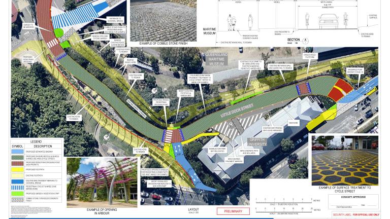 Design images for the Kangaroo Point Bikeway upgrade.