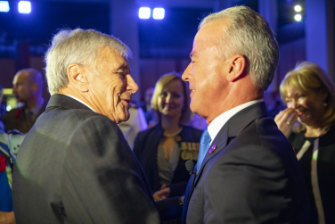 Kerry Stokes and Brendan Nelson greet each other at the redevelopment launch.