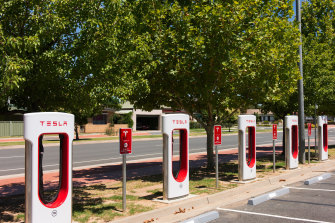 Superchargers for electric cars in Wodonga.