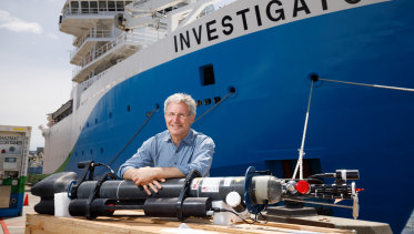 Dr Steve Rintoul, chief scientist of the RV Investigator voyage, with one of the deep-sea floats.