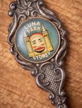 Detail of an antique souvenir Luna Park teaspoon in Nicole Bretts collection.