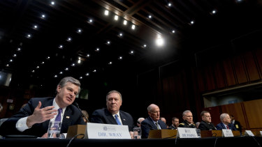 From left, FBI Director Christopher Wray, CIA Director Mike Pompeo, Director of National Intelligence Dan Coats, Defense Intelligence Agency Director Robert Ashley, National Security Agency Director Adm. Michael Rogers, and National Geospatial-Intelligence Agency Director Robert Cardillo at the Senate Select Committee on Intelligence hearing on worldwide threats.