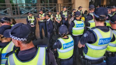The police presence outside Melbourne Magistrates Court on Monday morning.