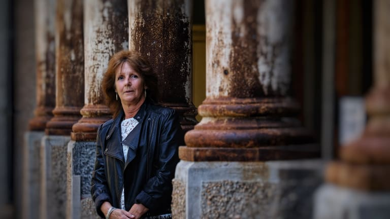 It left a scar: Maree Holt returns to Abbotsford Convent, where she grew up in the 1960s under care of the Sisters of the Good Shepherd.
