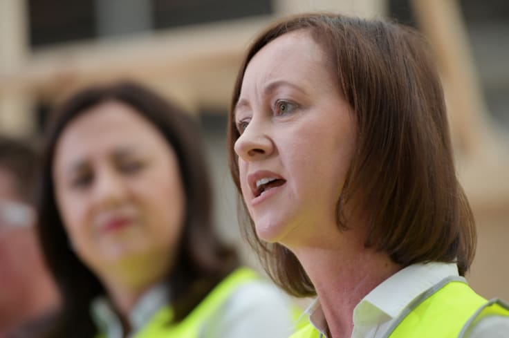 Attorney-General Yvette D'Ath and Minister for Training and Skills (right) and Queensland Premier Annastacia Palaszczuk speak.