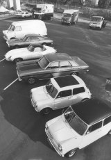 Five cars and a van bought by Peter Macari with the $500,000 he extorted from Qantas. Qantas auctioned the cars in order to recover part of the ransom money. 20 April 1972.