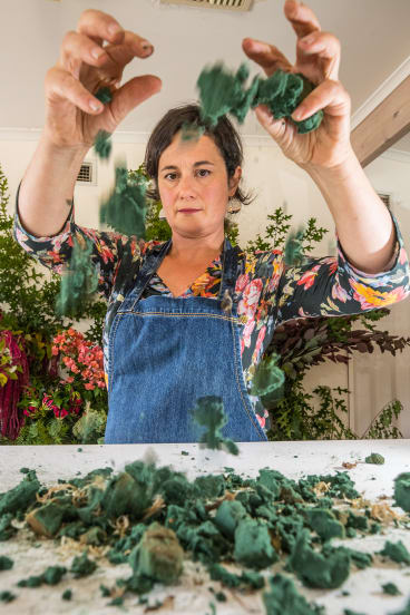 Florist Rita Feldmann is concerned about the impact of the widely used floral foam on the environment.