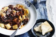 Neil Perry's oxtail ragu with pappardelle pasta.