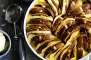 Neil Perry's hot cross bun and butter pudding with apple and spice.