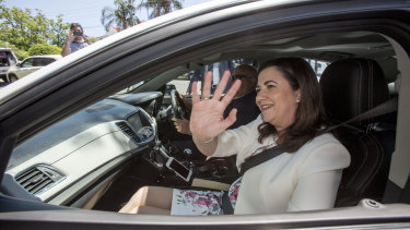 Queensland Premier Annastacia Palaszczuk arrives at Government House to kick-start the 2017 election campaign.