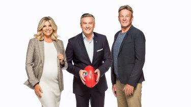 Eddie McGuire, Sam Nerwman and Rebecca Maddern returnfor season 25 of <i>The Footy Show</i>.