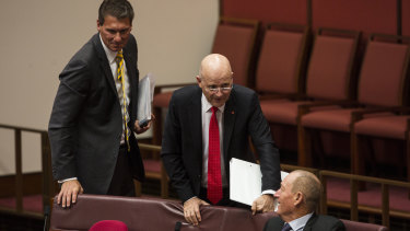 Cory Bernardi , David Leyonhjelm, and Fraser Anning, pictured in the Senate on Tuesday, have formed a voting alliance.
