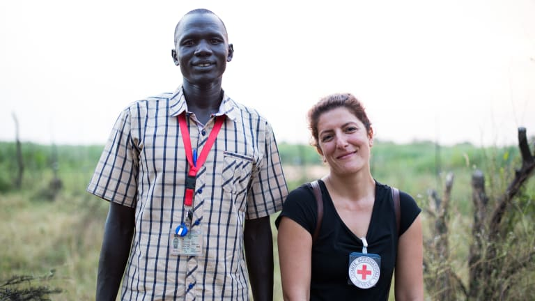Dorsa Nazemi-Salman and local colleague Ruach Gatbel on the road from Old Fangak to New Fangak.
