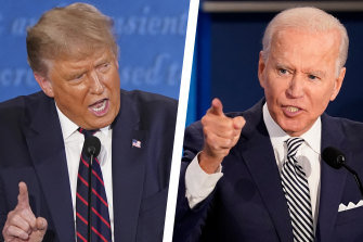 Donald Trump and Joe Biden during the  first presidential debate of 2020.