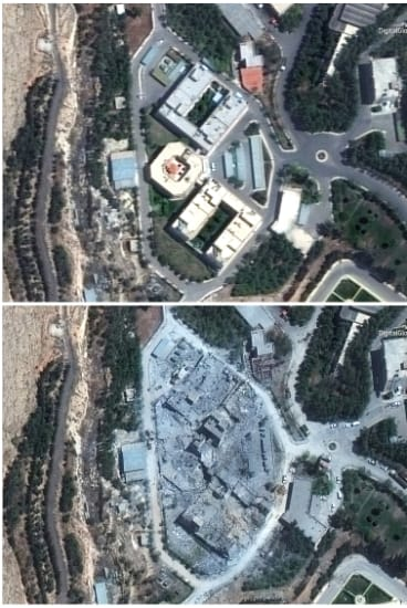 Before and after the recent missile strikes on the Barzah Research and Development Centre in Syria.
