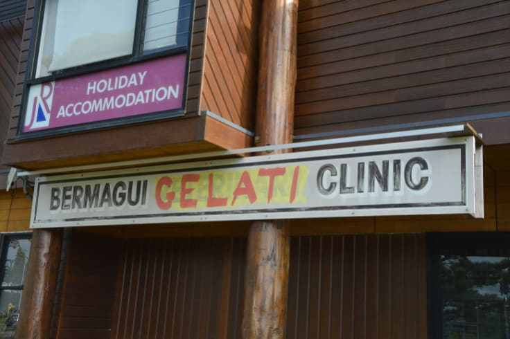 The infamous Bermagui Vet-come-Gelati Clinic sign.