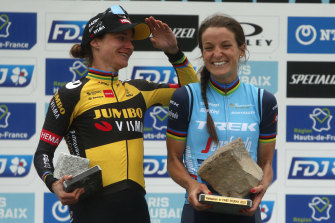 Elisabeth Deignan and Marianne Vos celebrate their one-two finish.