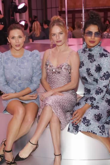 From left: Actresses Elizabeth Olsen, Kate Bosworth and Priyanka Chopra at the Kate Spade show.