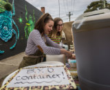 Fill 'er up: Raphaelle Lagier, left, and customer Mia Langes outside Podatpid cafe in West Footscray.