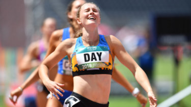 Going places: Riley Day wins the women's 200 metre final at the Australian Athletics Championship at Carrara Stadium on the Gold Coast.