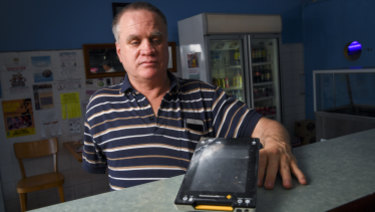 Martin Stewart, who is blind, is not able to use the new Albert eftpos machines because they have no keypads.