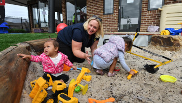 Back to work, and play: Sam Johnson, co-owner of Kool Kidz Tarneit is preparing to re-open her rebuilt childcare centre on February 26 after fire razed the old building.