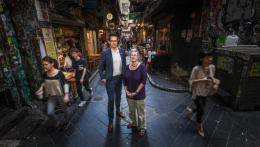 """Rohan Leppert with supporter and former lord mayor Lecki Ord. """"Running for lord mayor is a job application, not the Logies,"""" she says."""