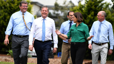 Opposition Leader Tim Nicholls on the campaign trail in Toowoomba in Friday.