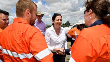 Queensland Premier Annastacia Palaszczuk campaigning in Mackay on Monday.