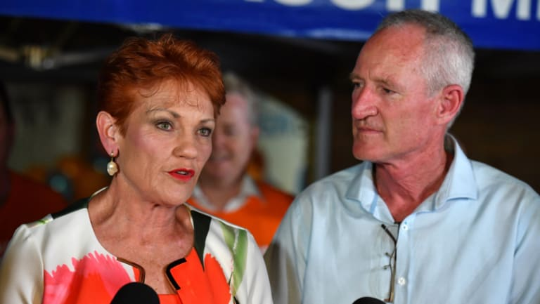 Steve Dickson and One Nation leader Senator Pauline Hanson speak to the media at the campaign party house.